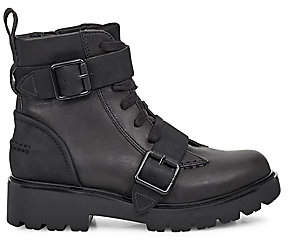 UGG Women's Noe Mixed-Media Leather Combat Boots