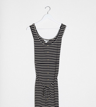 Brave Soul Plus pallas striped button through jersey dress with tie waist in black