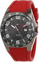 Tommy Hilfiger Men's 1790886 Sport Grey Ion-Plated Bezel Red Silicon Strap Watch
