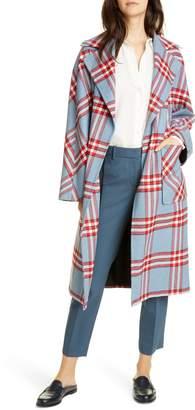Helene Berman Plaid Oversize Belted Wrap Coat