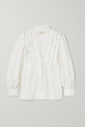 The Great The Tuxedo Ruffled Grosgrain-trimmed Crinkled Cotton-voile Blouse - Ivory
