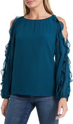1 STATE Cold Shoulder Ruffle Sleeve Blouse