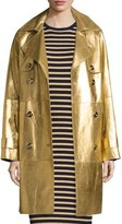 Michael Kors Metallic Leather Double-Breasted Trenchcoat, Gold