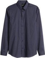 H&M Premium Cotton Shirt - Dark blue/dotted - Men