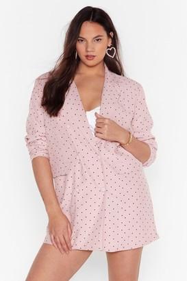 Nasty Gal Womens Pink Plus Size Blazer Dress with Heart Print