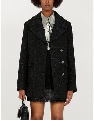 Pinko Rafforzare metallic-check woven mini skirt