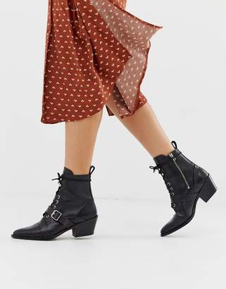 AllSaints Katy lace up heeled leather boots with buckle-Black