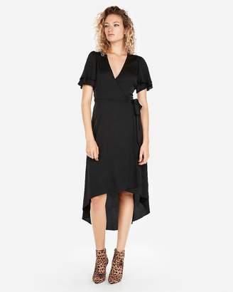 Express Deep V-Neck Surplice Wrap Front Maxi Dress
