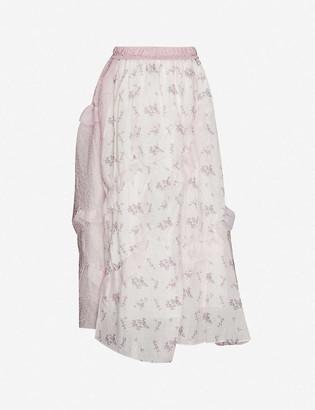 Renli Su Floral-print high-waist chiffon midi skirt