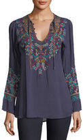 Johnny Was Sheesoh Georgette Blouse w/ Embroidery