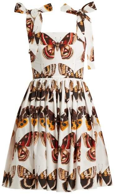 Dolce & Gabbana Butterfly Print Cotton Poplin Mini Dress - Womens - Brown White