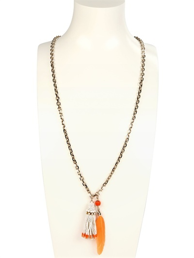 Rada' Beaded Tassle And Feather Necklace