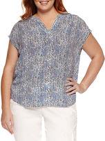 Liz Claiborne Short Sleeve Split Crew Neck Woven Blouse-Plus
