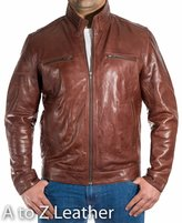 A to Z Leather Mens Classic Smart Casual Retro Vintage Biker Jacket