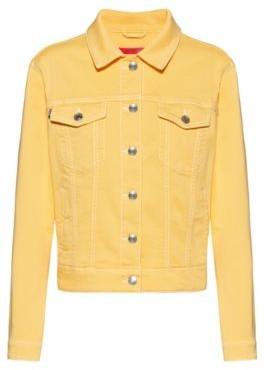 HUGO Slim-fit jacket in coloured stretch denim