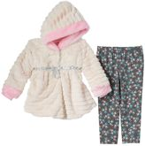 Little Lass Baby Girl Faux Fur Jacket & Leggings Set