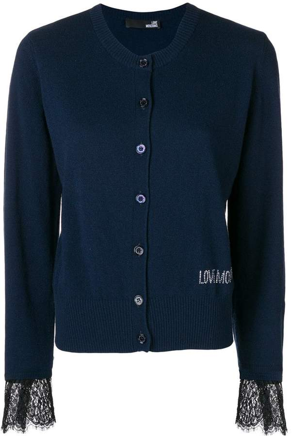 Love Moschino lace-hem fitted cardigan