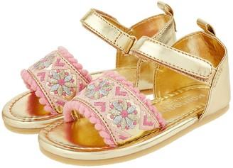 Monsoon Baby Girls Emily Embroidered Walker Sandal - Gold