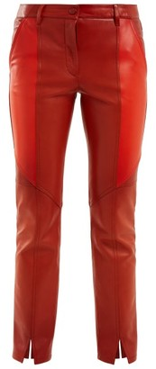 Givenchy Contrast-panel Skinny Leather Cropped Trousers - Womens - Orange