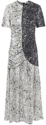 Paper London St Martin Ruched Printed Silk-blend Twill Midi Dress
