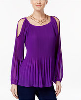 INC International Concepts Petite Pleated Cold-Shoulder Top