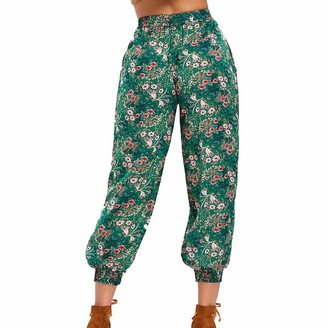 MERICAL Trousers for Women Mid Waisted Trousers Ladies Floral Trousers Loose Pants Casual Drawstring Elastic Waisted Pants Baggy Plus Size Harem Pants Full Length Trousers Green
