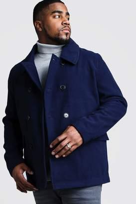 BoohoomanBoohooMAN Mens Navy Big & Tall Classic Wool Look Pea Coat, Navy