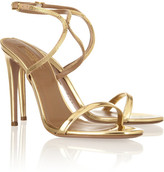 Aquazzura Cannes chain-trimmed mirrored-leather sandals