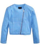 Tommy Hilfiger Cropped Gingham Moto Jacket, Big Girls