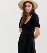 Asos Tall DESIGN Tall knot front button through sundress with puff sleeve