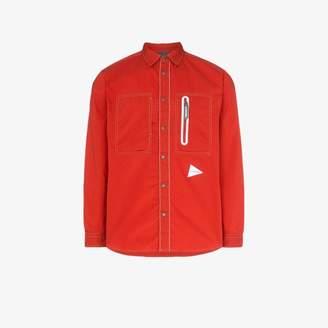 And Wander and Wander red Laser long-sleeved zip pocket shirt