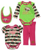"Apple Bottoms Baby Girls' ""Flowers + Stripes"" 4-Piece Set"