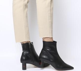 Office Afflict Cylindrical Heel Boots Black Leather Tortoiseshell Heel