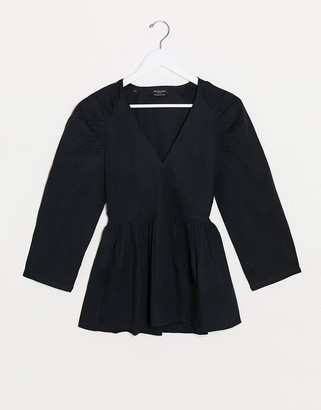 Selected poplin wrap blouse with shoulder detail in black