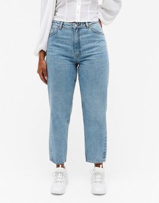 Monki Kyo organic cotton barrel leg mom jeans in mid wash