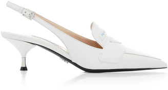 Prada Logo Leather Slingback Pumps
