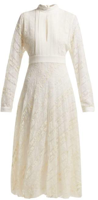Giambattista Valli Crepe And Floral Lace Midi Dress - Womens - White