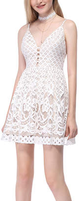 Alisa Pan Women's Cocktail Dresses Cream - Cream Lace Plunge Sleeveless Fit & Flare Dress - Women