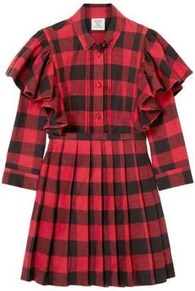 Vetements Pleated Ruffle-trimmed Gingham Cotton-flannel Mini Dress