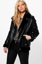 Boohoo Sarah Faux Fur Lined Aviator Jacket