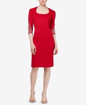 SL Fashions Embellished Scuba Sheath Dress