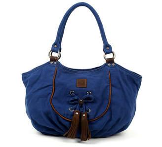 Tsd Brand Bold Lotus Canvas Hobo Bag