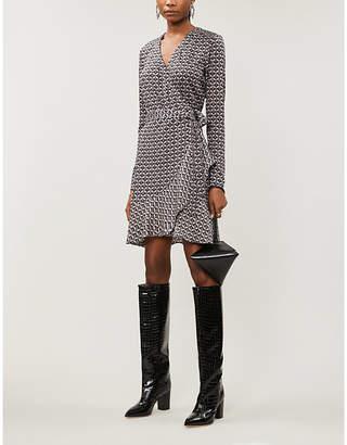Diane von Furstenberg Elita geometric-print silk wrap mini dress