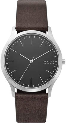 Skagen Men Jorn Brown Leather Strap Watch 41mm