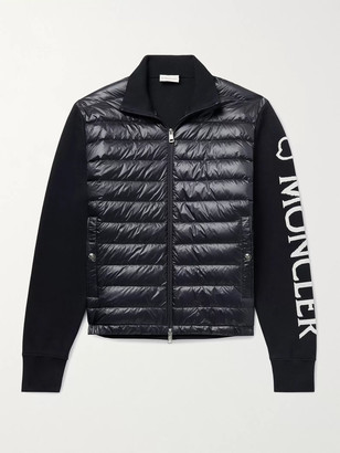 Moncler Quilted Nylon And Intarsia Cotton-Blend Down Jacket