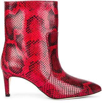 Paris Texas Python Print Stiletto Ankle Boot in Red   FWRD