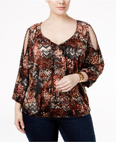 NY Collection Plus Size Printed Cold-Shoulder Peasant Top