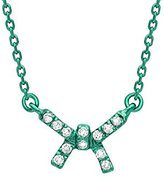 As 29 AS29 Women's 18ct Green Gold Round White Diamonds Mini Bow Necklace of Length 38-40cm