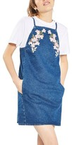 Topshop Women's Tulip Embroidered Pinafore Dress