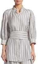 Zimmermann Striped Puff Sleeve Blouse